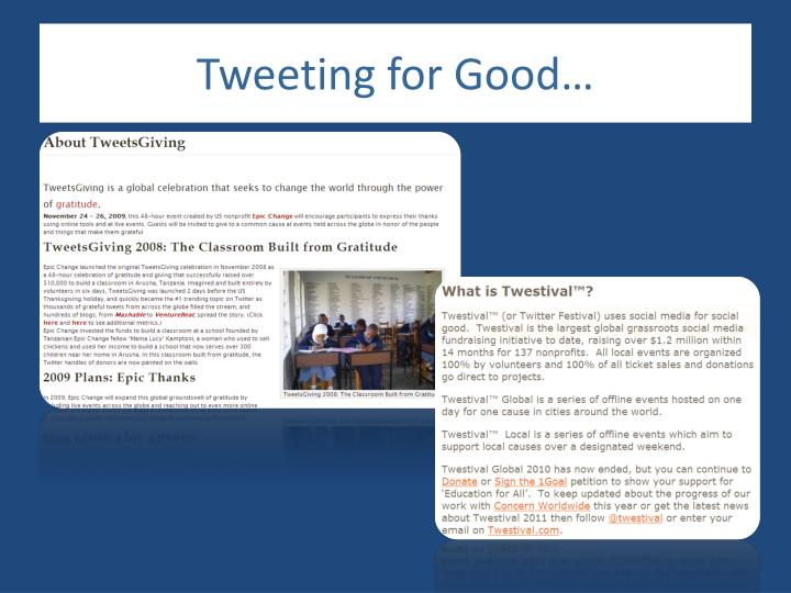 Tweeting for Good…