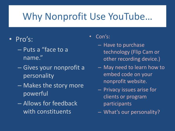 Why Nonprofit Use YouTube…