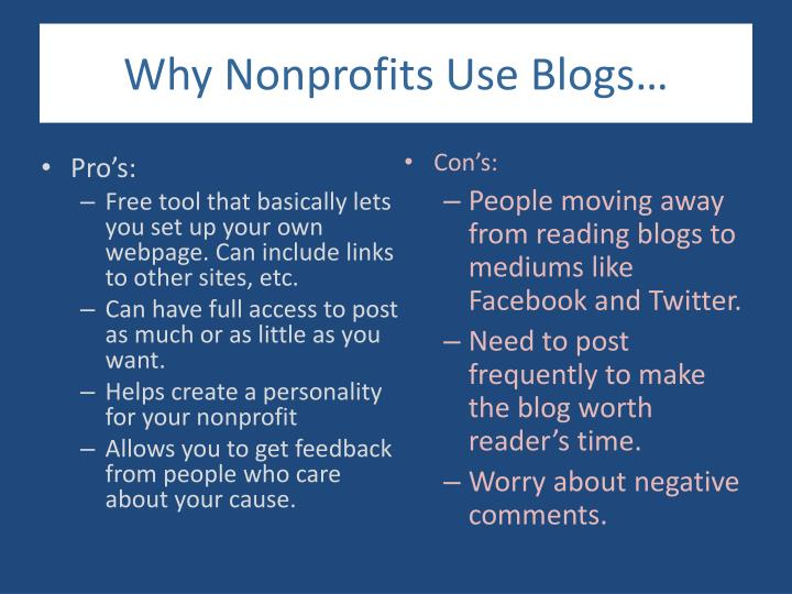 Why Nonprofits Use Blogs…
