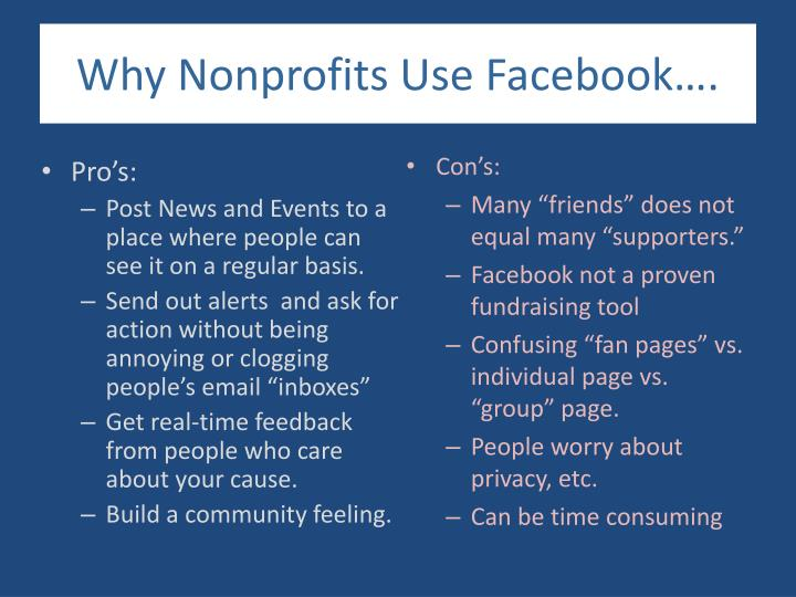 Why Nonprofits Use Facebook….