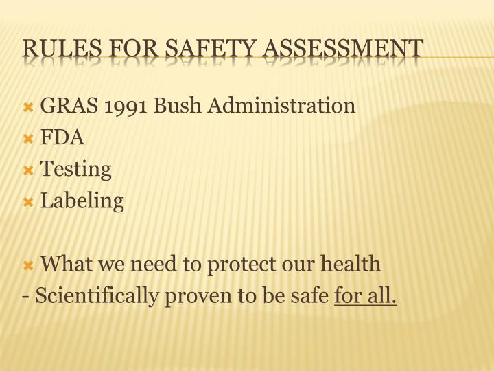 GRAS 1991 Bush Administration