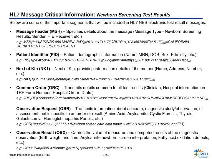 HL7 Message Critical