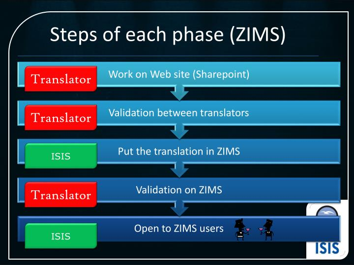Steps of each phase (ZIMS)