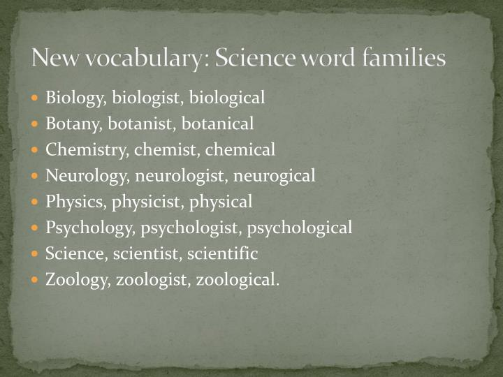 New vocabulary: Science word families