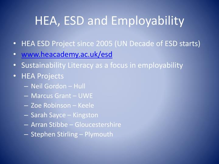 HEA, ESD and Employability