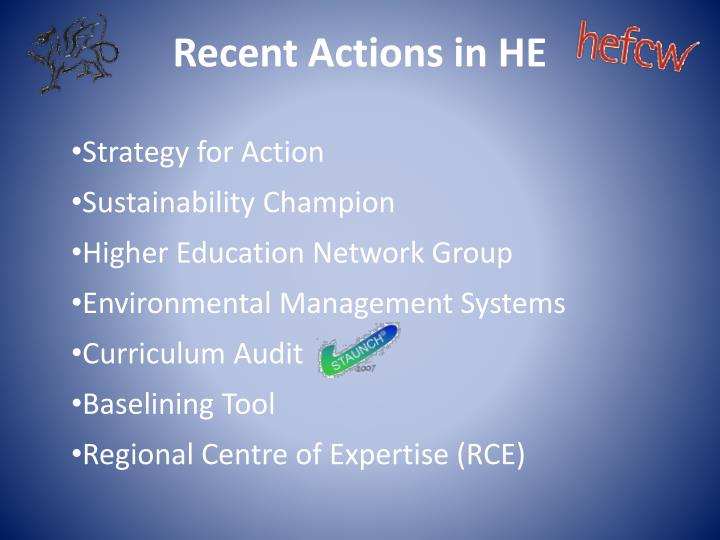 Recent Actions in HE