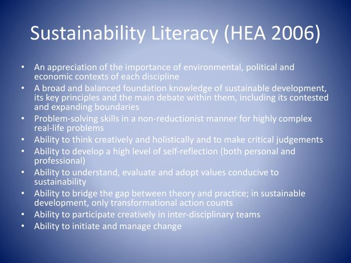 Sustainability Literacy (HEA 2006)