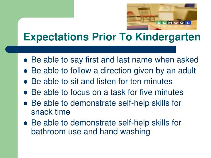 Expectations Prior To Kindergarten