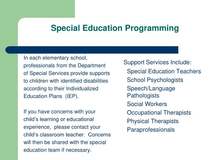 Special Education Programming