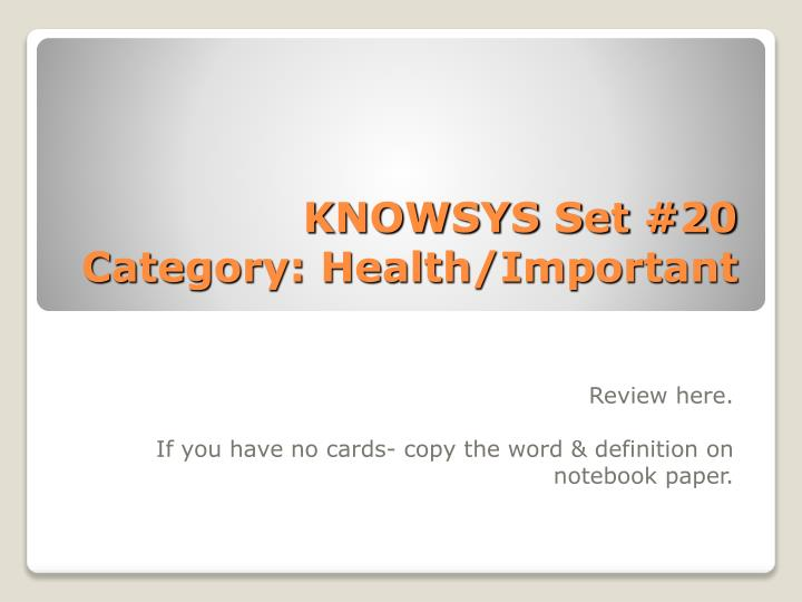 Knowsys set 20 category health important