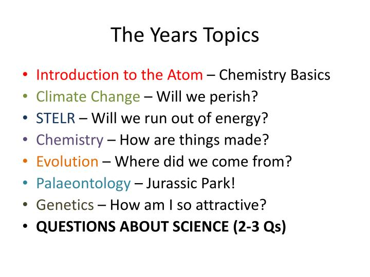 The Years Topics