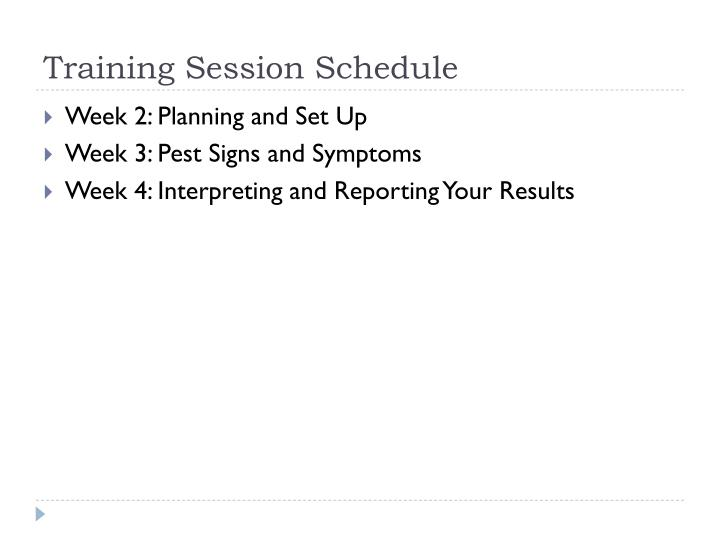 Training Session Schedule