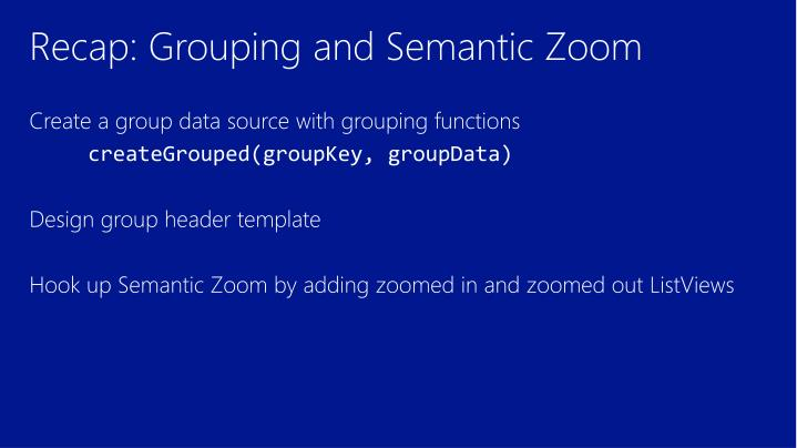 Recap: Grouping and Semantic Zoom