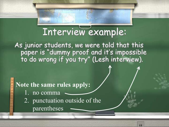 Interview example: