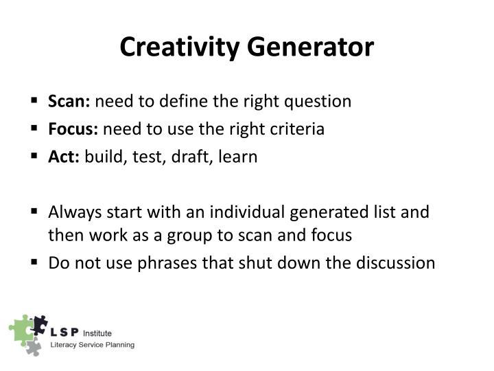 Creativity Generator