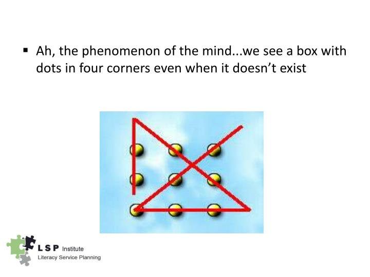 Ah, the phenomenon of the mind...we see a box with dots in four corners even when it doesn't exist