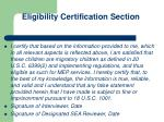eligibility certification section1