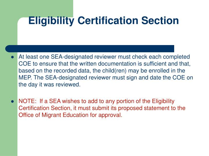 Eligibility Certification Section