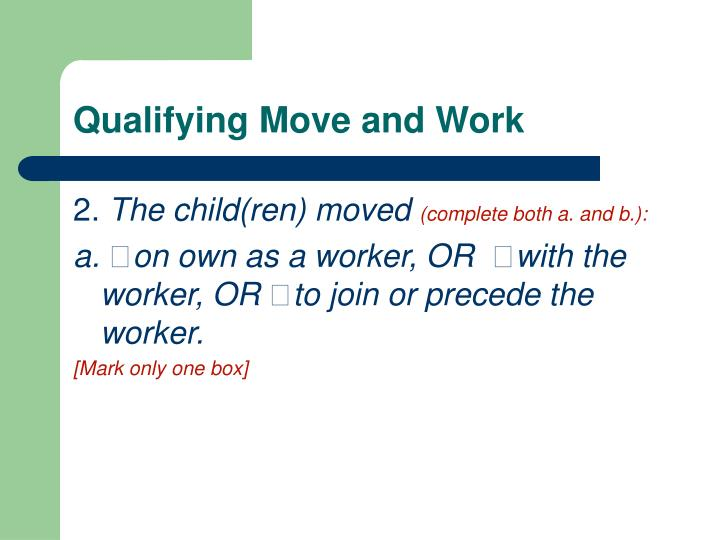 Qualifying Move and Work