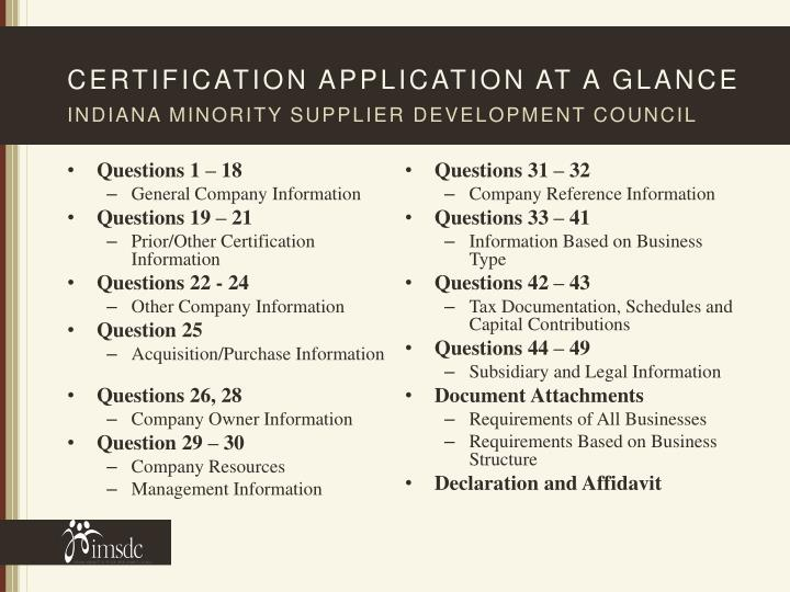 Certification application at a glance