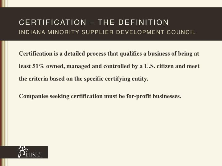 Certification – The definition