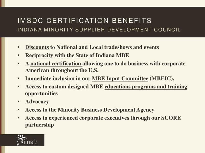 Imsdc certification benefits