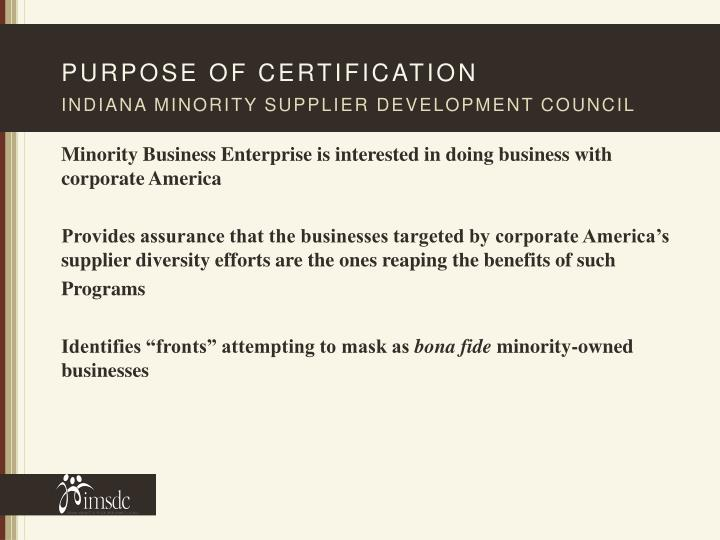 Purpose of certification