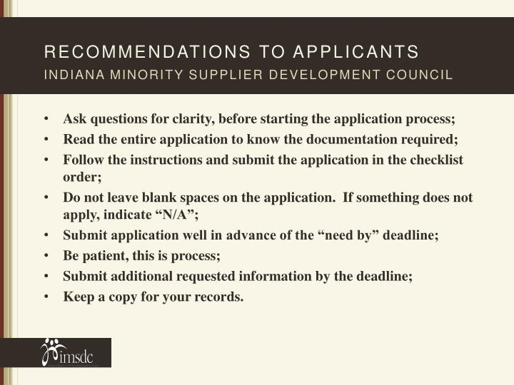 Recommendations to applicants
