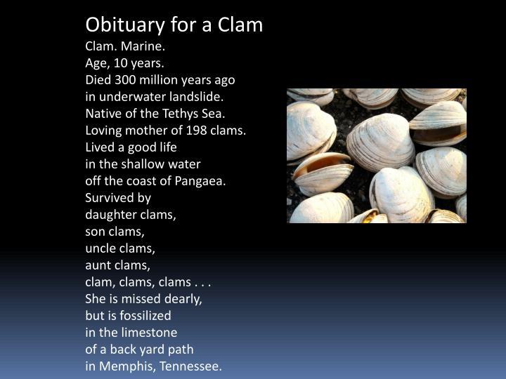 Obituary for a Clam
