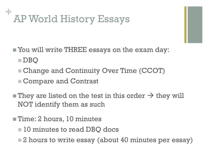 ap essay history In ap world history we periodically take vocabulary quizzes these quizzes usually consist of ten words of about twenty from a unit on a half sheet of paper.