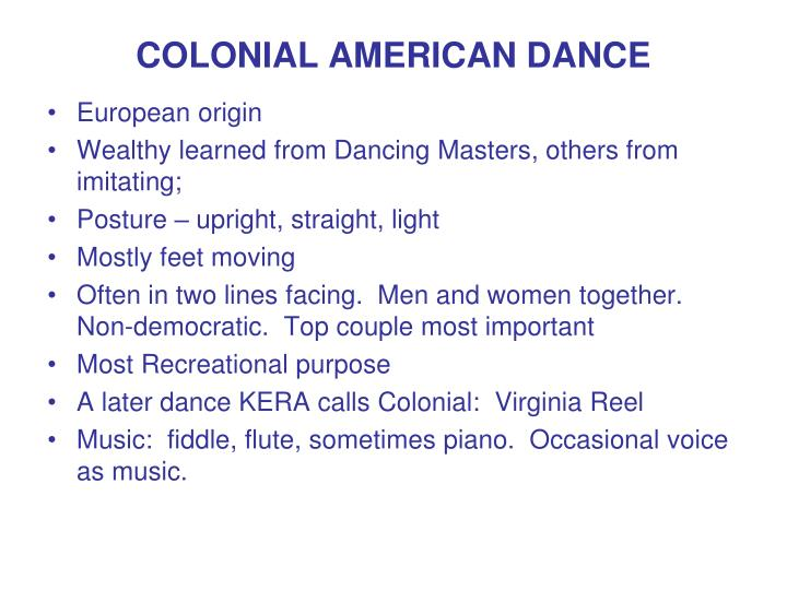 COLONIAL AMERICAN DANCE