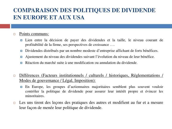 COMPARAISON DES POLITIQUES DE DIVIDENDE EN EUROPE ET AUX USA