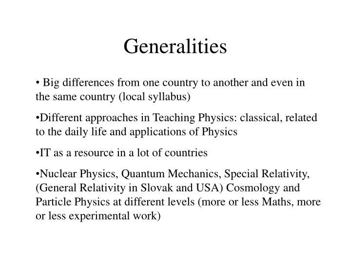 Generalities