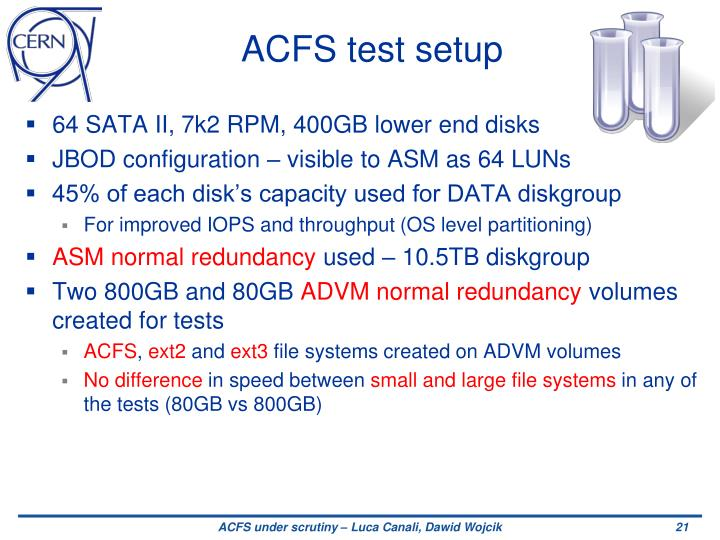 ACFS test setup