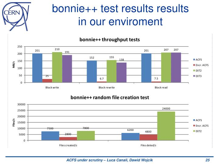 bonnie++ test results results in our enviroment