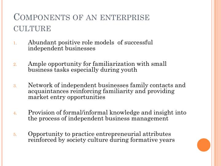 Components of an enterprise culture