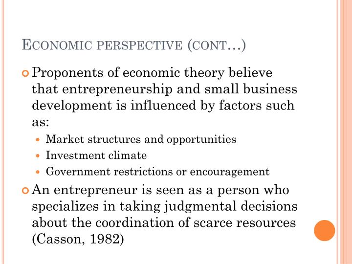 Economic perspective (cont…)