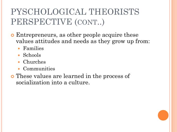PYSCHOLOGICAL THEORISTS PERSPECTIVE (cont..)