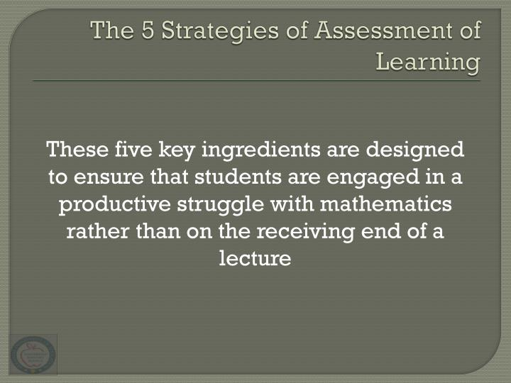 The 5 Strategies of Assessment of Learning