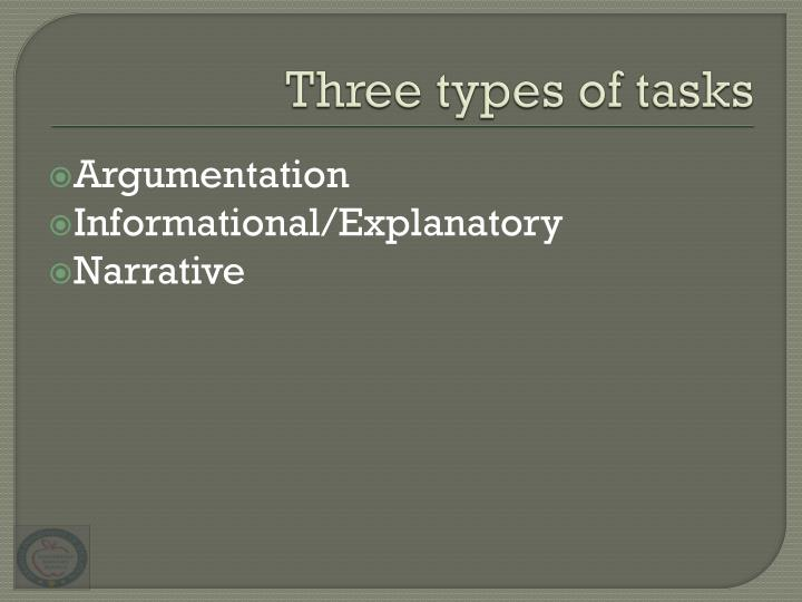 Three types of tasks
