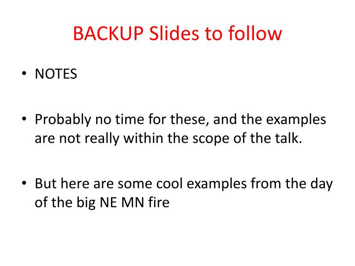 BACKUP Slides to follow