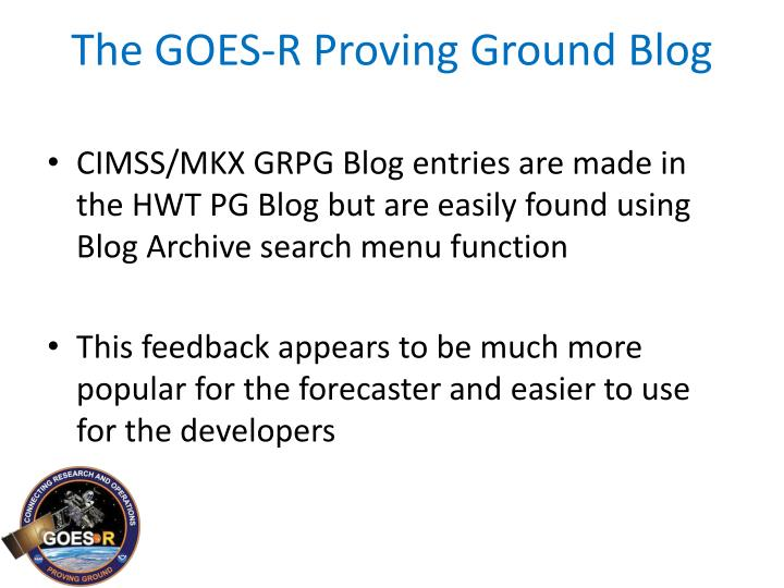 The GOES-R Proving Ground Blog