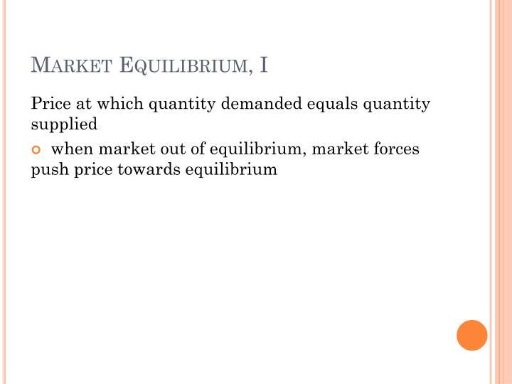 Market Equilibrium, I