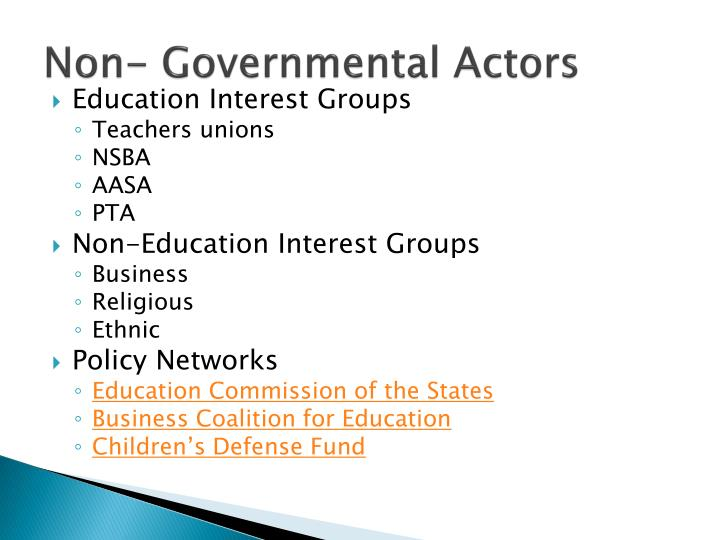 Non- Governmental Actors