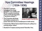 nye committee hearings 1934 1936