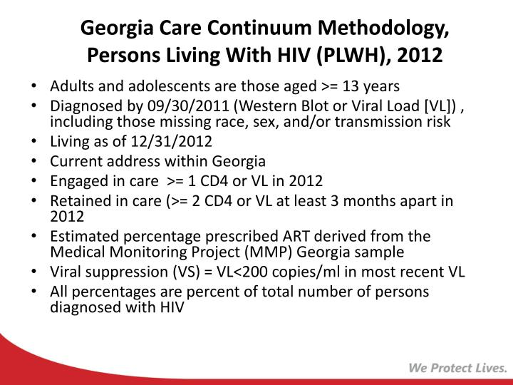 Georgia care continuum methodology persons living with hiv plwh 2012