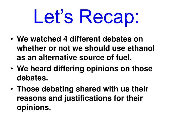 Let's Recap: