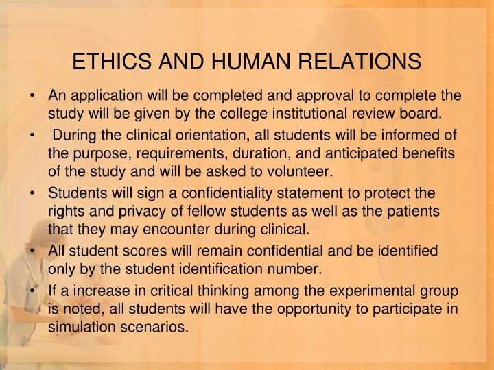 ETHICS AND HUMAN RELATIONS