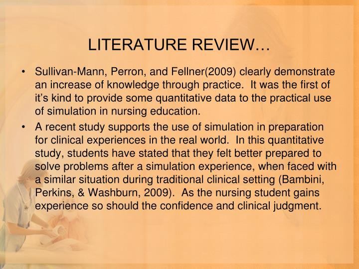 LITERATURE REVIEW…