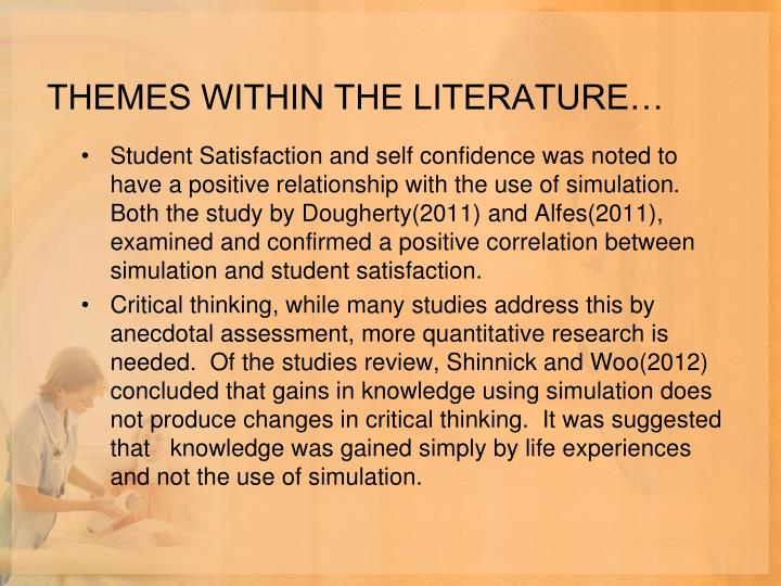THEMES WITHIN THE LITERATURE…